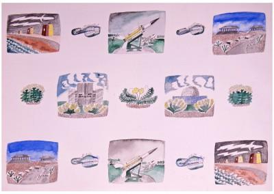 'Sea Defences'. 2015.<br>Watercolour, ink. 40cm x 60cm.