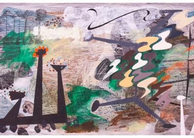 'Thwaite.' 2013.<br>Oil, pencil, ink on gesso. 60cm x 120cm.