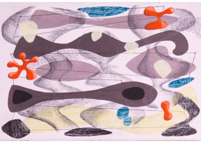 'Tommy Road.' 2012.<br>Oil, pencil, ink on gesso. 20cm x 30cm.