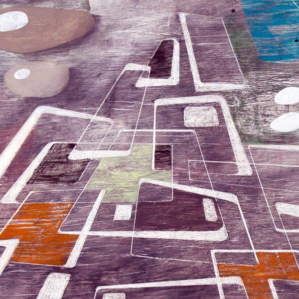'Ravine.' 2010. Oil, pencil, ink on gesso. 40cm x 120cm.