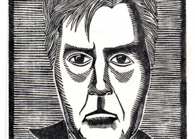 'Self Portrait.' 2015.<br>Linocut print. 20cm x 15cm.