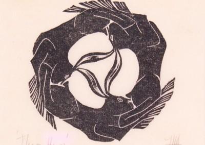 'Three Hares.' 2005.<br>Linocut print. 15cm x 15cm.