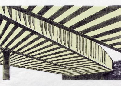 'Bridge.' 2008.<br>Two colour linocut print. 30cm x 60cm