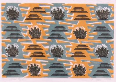 'Pagodas.' 2008.<br>Four colour linocut print. 20cm x 30cm.