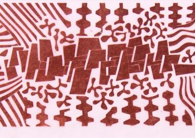 'Pastorale.' 2009.<br>Linocut print. 20cm x 40cm.