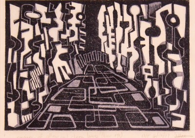 'Ravines.' 2009.<br>Two colour linocut print. 15cm x 20cm.