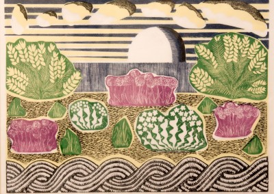 'Sizewell Beach.' 2009.<br>Five colour linocut print. 30cm x 45cm.