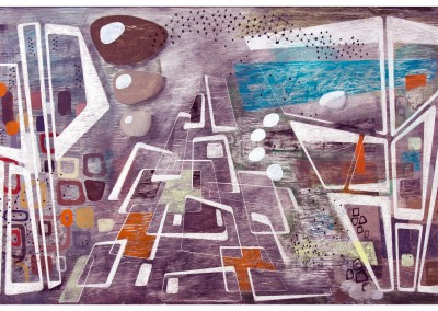 'Ravine.' 2010.<br>Oil, pencil, ink on gesso. 40cm x 120cm.