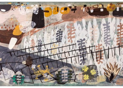 'Battery.' 2012.<br>Oil, pencil, ink on gesso. 40cm x 120cm.