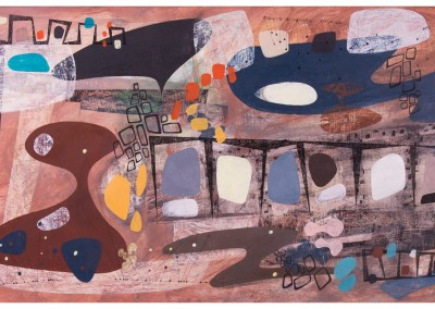 'Kilns 1.' 2012.<br>Oil, pencil, ink on gesso. 60cm x 120cm.