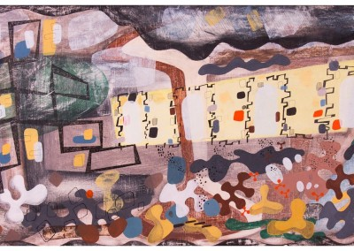 'Kilns 2.' 2012.<br>Oil, pencil, ink on gesso. 60cm x 120cm.