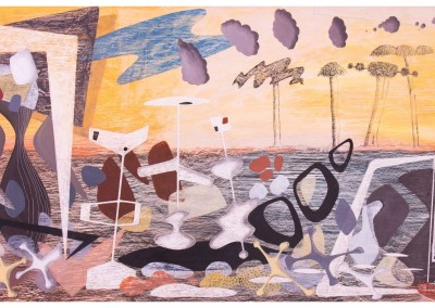 'Untitled (after George Herriman).' 2012<br>Oil, pencil, ink on gesso. 60cm x 120cm.