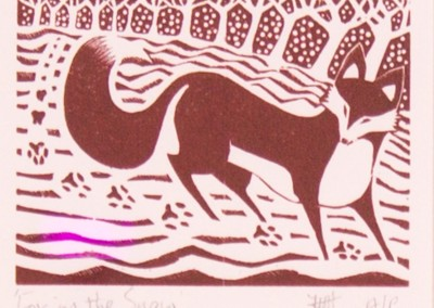 'Fox in the Snow.' 2013.<br>Wood engraving. 10cm x 15cm