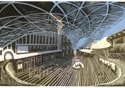 'Kings Cross.' 2014.<br>Linocut print with body colour. 20cm x 30cm.
