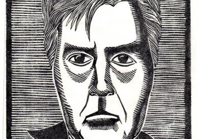 'Self Portrait. 2015.<br>Linocut print. 20cm x 15cm.