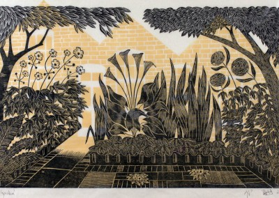 'Jo's Garden.' 2015<br>Two colour linocut print. 30cm x 40cm.