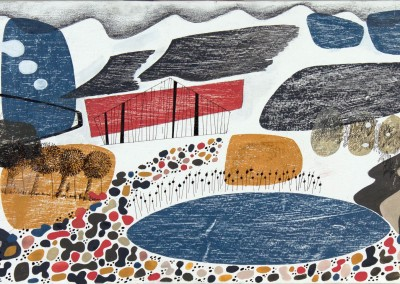 'Red Barn.' 2014.<br>Gouache,pencil, ink on gesso. 30cm x 60cm.