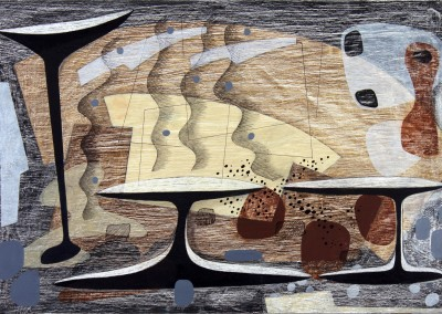 'Roadside Picnic 3.'<br>Oil, pencil, ink on gesso. 40cm x 60cm