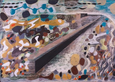 'The Saltings.' 2014.<br>Oil, pencil, ink on gesso. 80cm x 120cm..