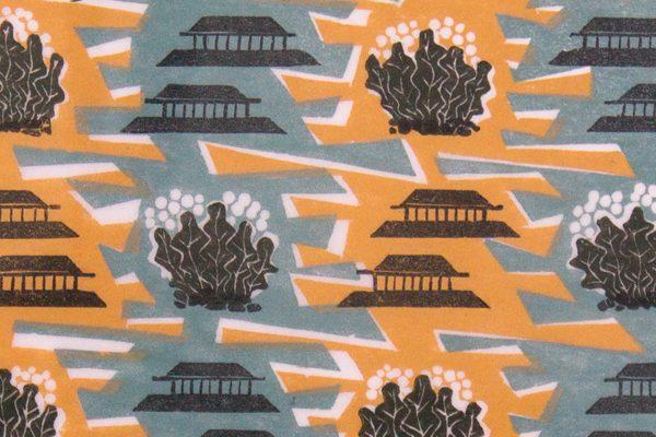'Pagodas, Orfordness.' 2008. Four colour linocut print. 20cm x 30cm.