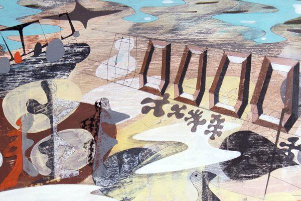 'Cast Iron Shore 1.' 2011. Oil; pencil, ink on gesso. 2012. 45cm x 60cm.