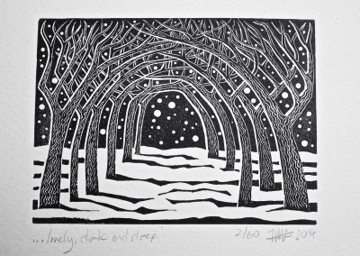 'Lovely, dark and deep.' 2014.<br>Wood engraving. 10cm x15cm.