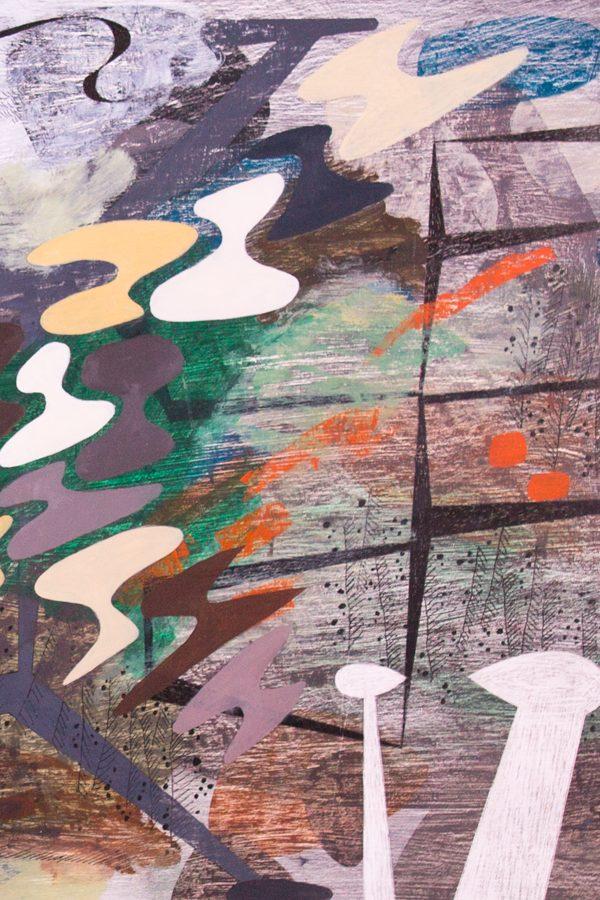 'Thwaite.' 2013. Oil, pencil, ink on gesso. 60cm x 120cm.