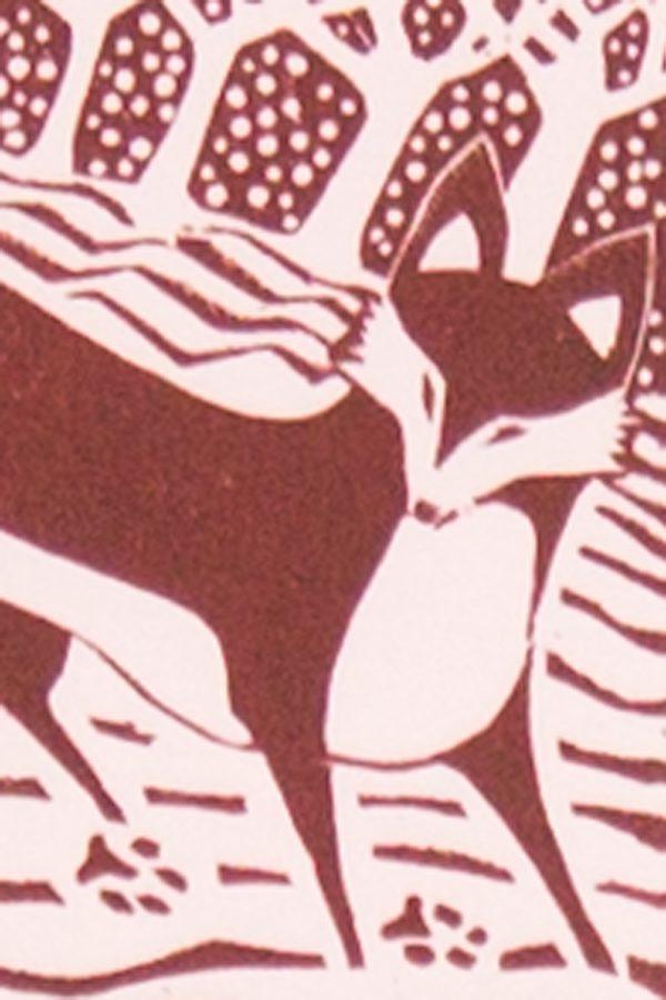 'Fox in the Snow.' 2012. Wood engraving. 10cm x 15cm.