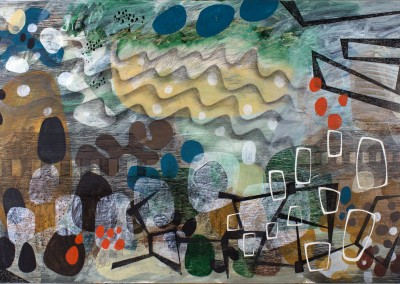 'Roadside Picnic 1.'<br>Oil, pencil, ink on gesso. 60cm x 120cm.