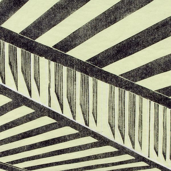 'Bridge.' 2008. Two colour linocut print. 30cm x 60cm.