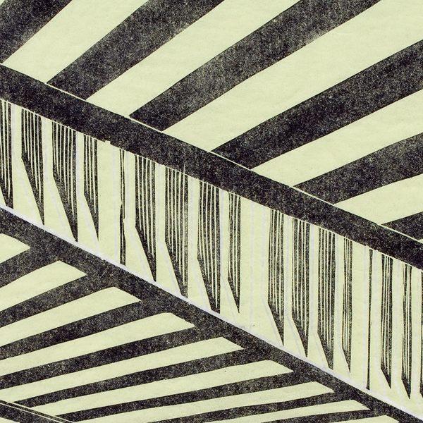'Bridge.' 2008. Two colour linocut print. 30cm x 60cm.
