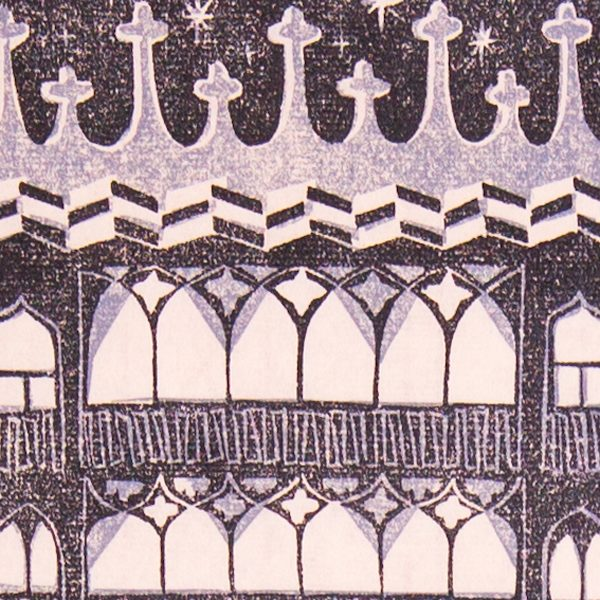 'House of Gold.' 2009. Two colour linocut print. 20cm x 15cm.