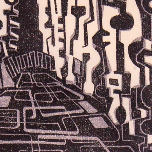 'Ravines.' 2009. Two colour linocut print. 15cm x 20cm.