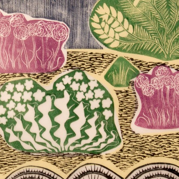 'Sizewell Beach.' 2009. Five colour linocut print. 30cm x 35cm.